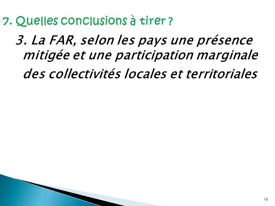 16 3. La FAR, selon les pays une présence mitigée et une participation marginale des collectivités locales et territoriales