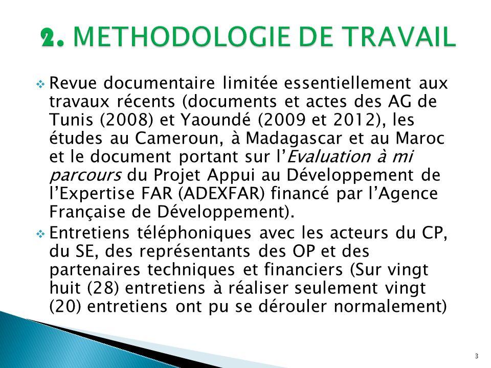 3 Revue documentaire limitée essentiellement aux travaux récents (documents et actes des AG de Tunis (2008) et Yaoundé (2009 et 2012), les études au C