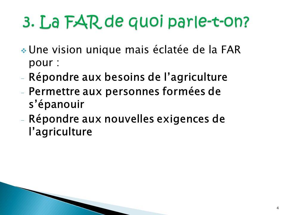4 Une vision unique mais éclatée de la FAR pour : - Répondre aux besoins de lagriculture - Permettre aux personnes formées de sépanouir - Répondre aux