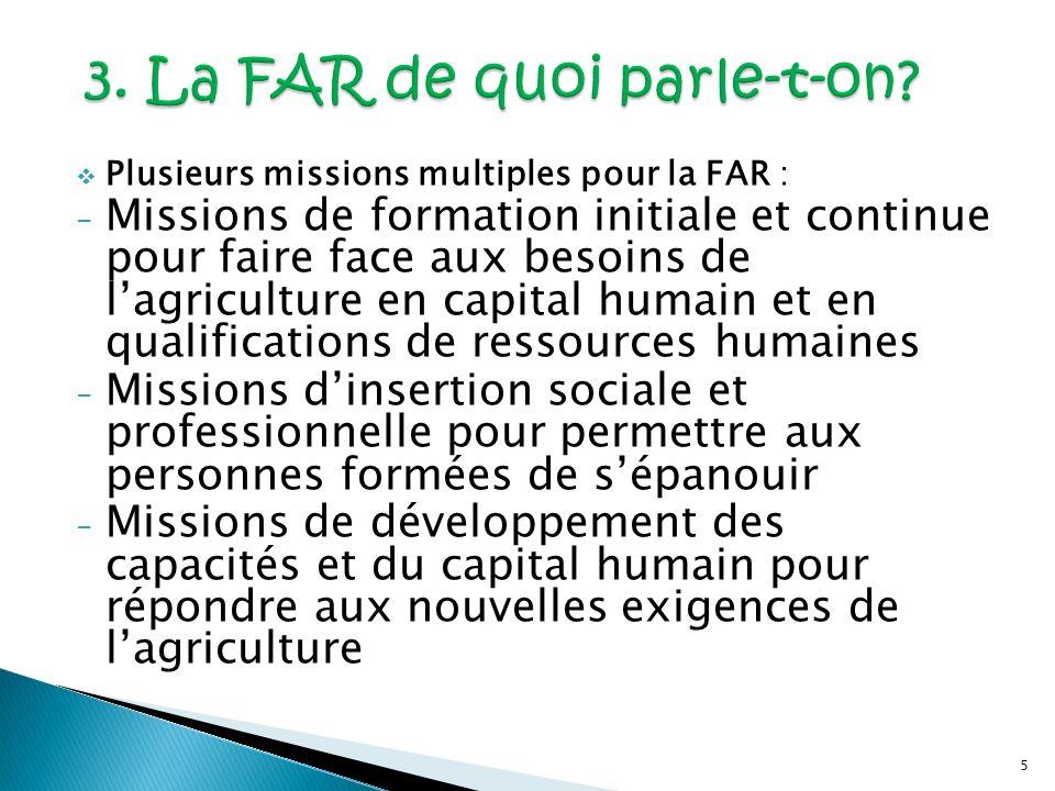 5 Plusieurs missions multiples pour la FAR : - Missions de formation initiale et continue pour faire face aux besoins de lagriculture en capital humai