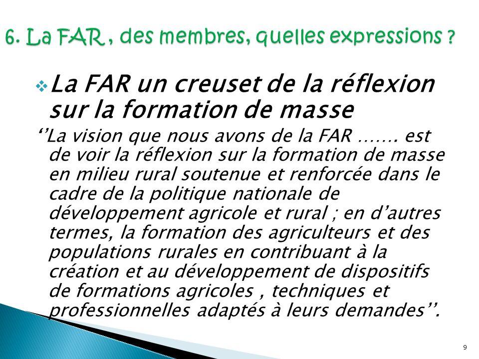 10 La FAR pour accompagner le développement de lagriculture familiale Il faut assurer le développement de lagriculture familiale qui se professionnalise et qui souvre vers le marché, la gestion, la transformation, la commercialisation, etc..