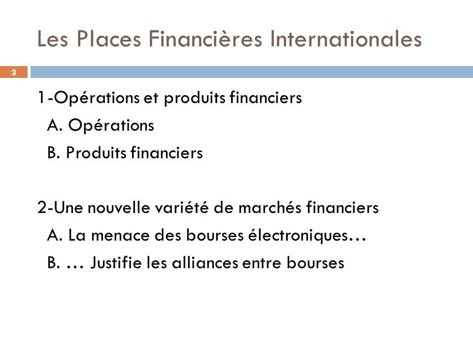 3 Les Places Financières Internationales 1-Opérations et produits financiers A. Opérations B. Produits financiers 2-Une nouvelle variété de marchés fi