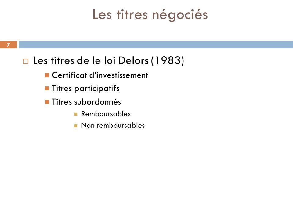 7 Les titres négociés Les titres de le loi Delors (1983) Certificat dinvestissement Titres participatifs Titres subordonnés Remboursables Non rembours