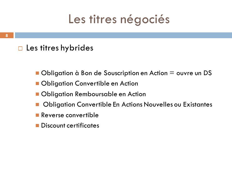 8 Les titres négociés Les titres hybrides Obligation à Bon de Souscription en Action = ouvre un DS Obligation Convertible en Action Obligation Rembour
