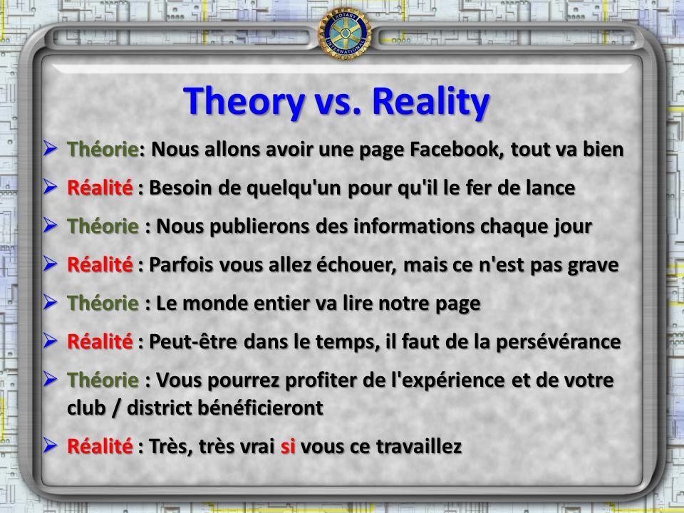 Theory vs. Reality Théorie: Nous allons avoir une page Facebook, tout va bien Théorie: Nous allons avoir une page Facebook, tout va bien Réalité : Bes
