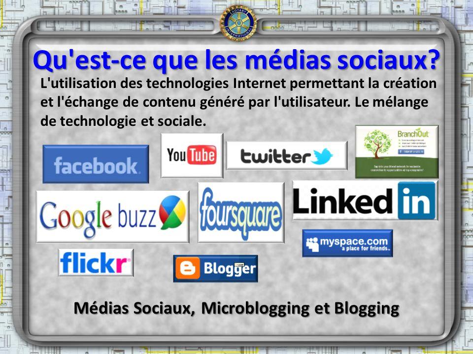 Qu'est-ce que les médias sociaux? L'utilisation des technologies Internet permettant la création et l'échange de contenu généré par l'utilisateur. Le