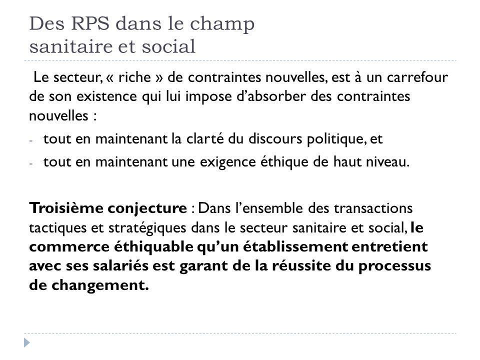 Des RPS dans le champ sanitaire et social Le secteur, « riche » de contraintes nouvelles, est à un carrefour de son existence qui lui impose dabsorber des contraintes nouvelles : - tout en maintenant la clarté du discours politique, et - tout en maintenant une exigence éthique de haut niveau.