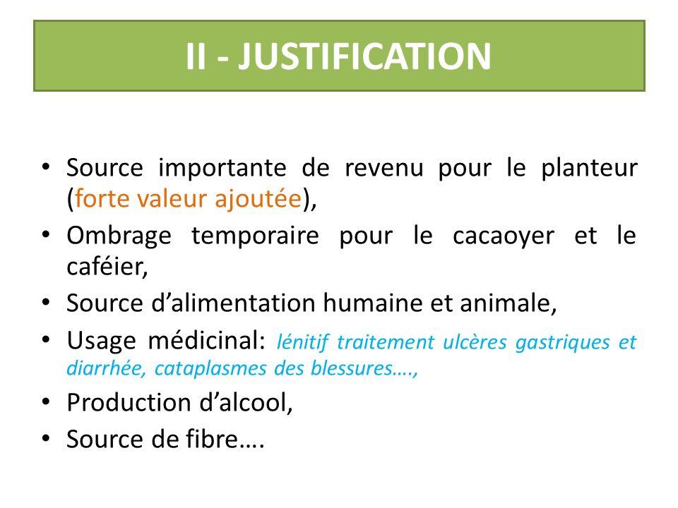 I. CONTEXTE Faible rejetonnage de plantation Mauvaise qualité du matériel végétal utilisé par les planteurs, ceci à cause des nématodes et des charanç