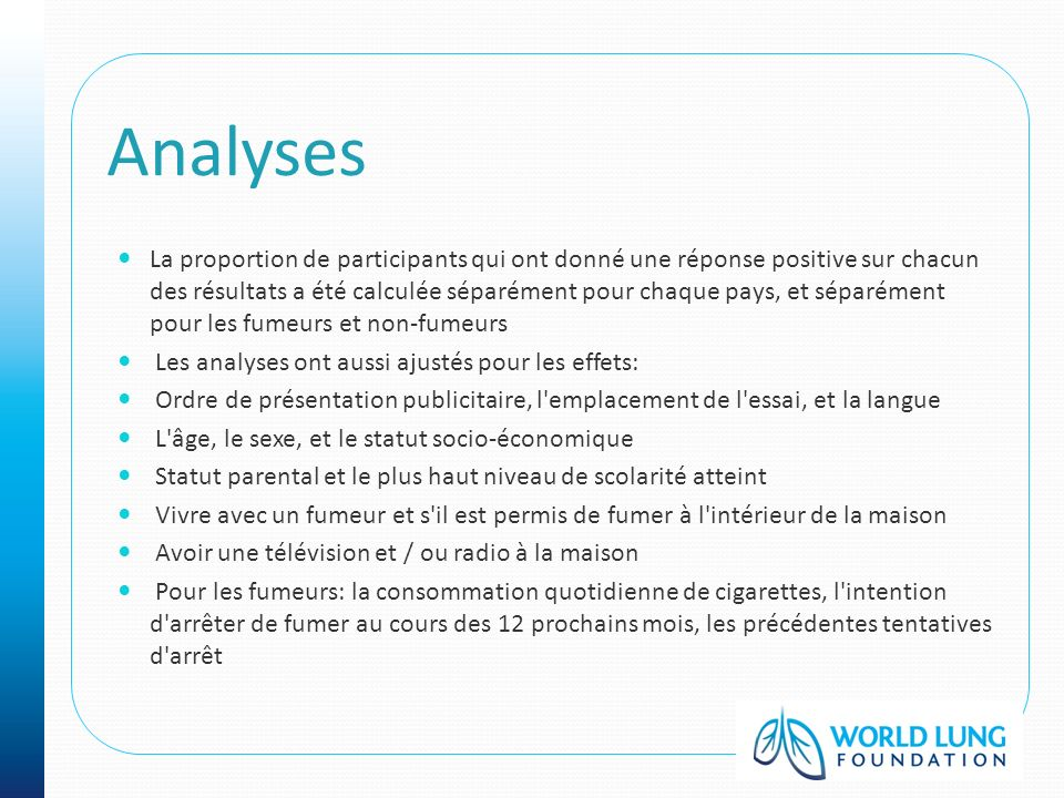Analyses La proportion de participants qui ont donné une réponse positive sur chacun des résultats a été calculée séparément pour chaque pays, et sépa