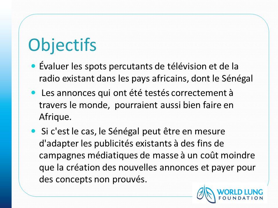 Objectifs Évaluer les spots percutants de télévision et de la radio existant dans les pays africains, dont le Sénégal Les annonces qui ont été testés