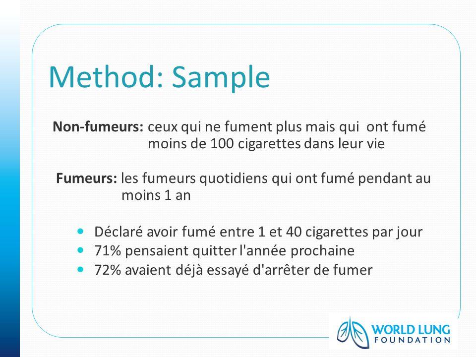 Method: Sample Non-fumeurs: ceux qui ne fument plus mais qui ont fumé moins de 100 cigarettes dans leur vie Fumeurs: les fumeurs quotidiens qui ont fu