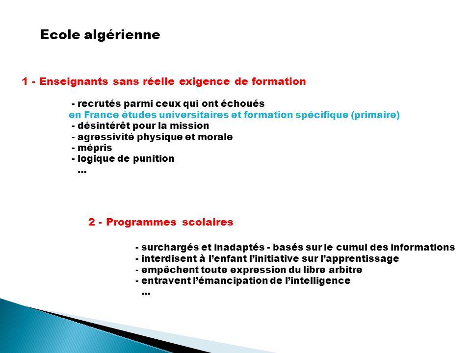Ecole algérienne 1 - Enseignants sans réelle exigence de formation - recrutés parmi ceux qui ont échoués en France études universitaires et formation