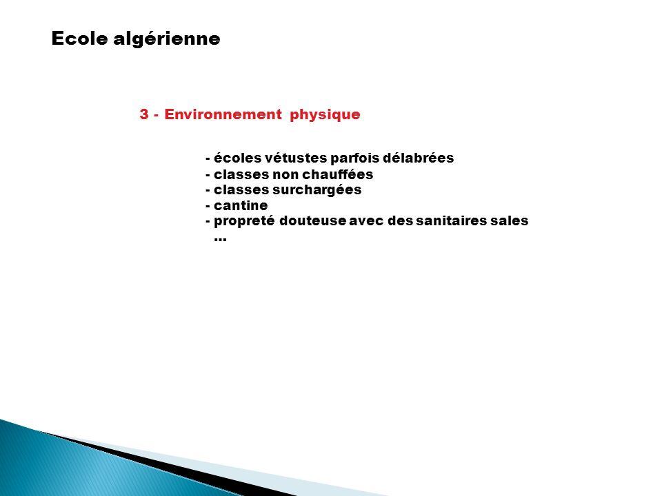 Ecole algérienne 3 - Environnement physique - écoles vétustes parfois délabrées - classes non chauffées - classes surchargées - cantine - propreté dou