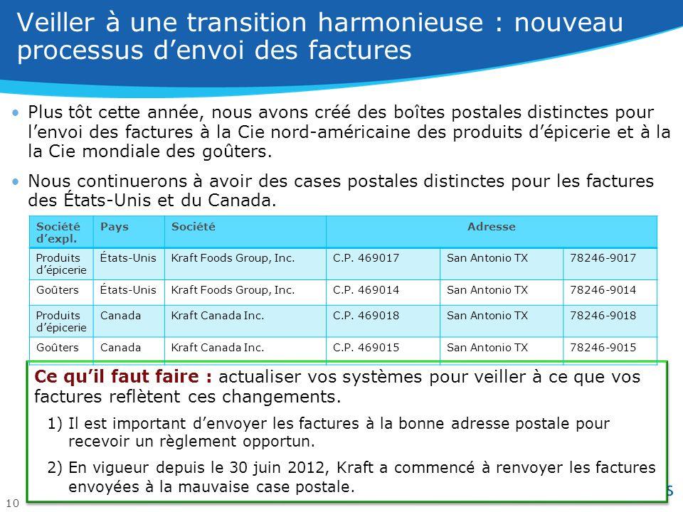 Les bons de commande et les factures doivent être séparés entre la Cie des goûters et la Cie des produits dépicerie dici le 1 er octobre 2012.