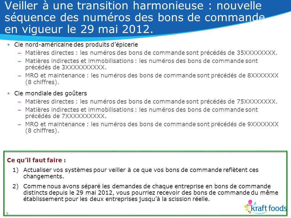 Les nouvelles raisons sociales entreront en vigueur le 1 er octobre 2012. 12 Société dexploitation Champs « Facturer à », « Payeur » ou « Facture » Ci