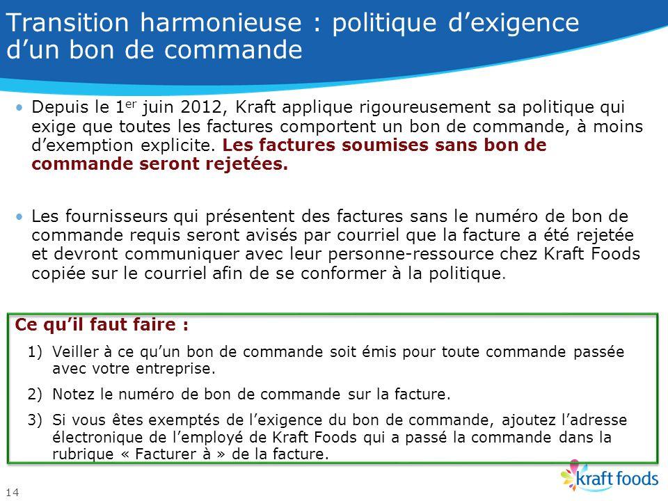 Veiller à une transition harmonieuse : nouvelle séquence des numéros des bons de commande en vigueur le 29 mai 2012. Cie nord-américaine des produits