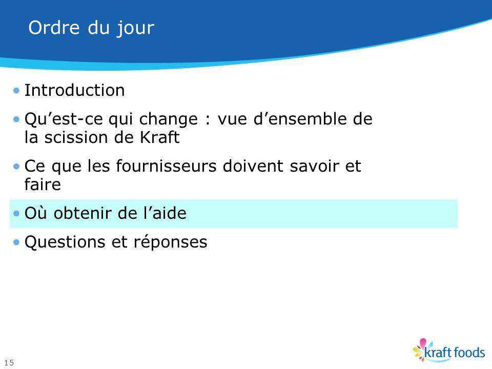 Transition harmonieuse : politique dexigence dun bon de commande Depuis le 1 er juin 2012, Kraft applique rigoureusement sa politique qui exige que to