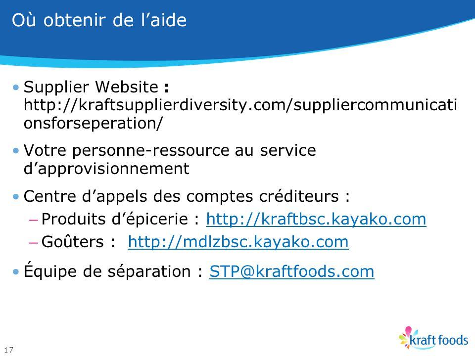 Nouvelles coordonnées des comptes créditeurs – Cie des produits dépicerie et Cie des goûters 16 Coordonnées de la Cie des produits dépicerie PourCoord