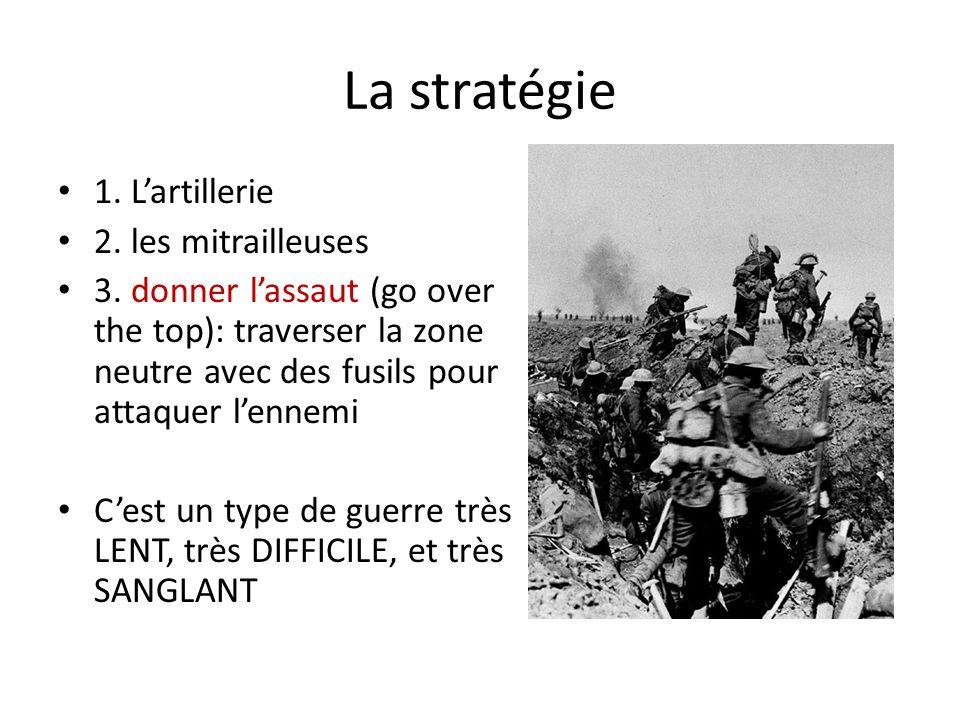La stratégie 1. Lartillerie 2. les mitrailleuses 3. donner lassaut (go over the top): traverser la zone neutre avec des fusils pour attaquer lennemi C