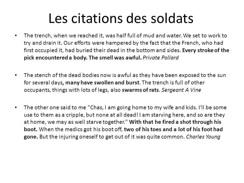 Les citations des soldats The trench, when we reached it, was half full of mud and water.