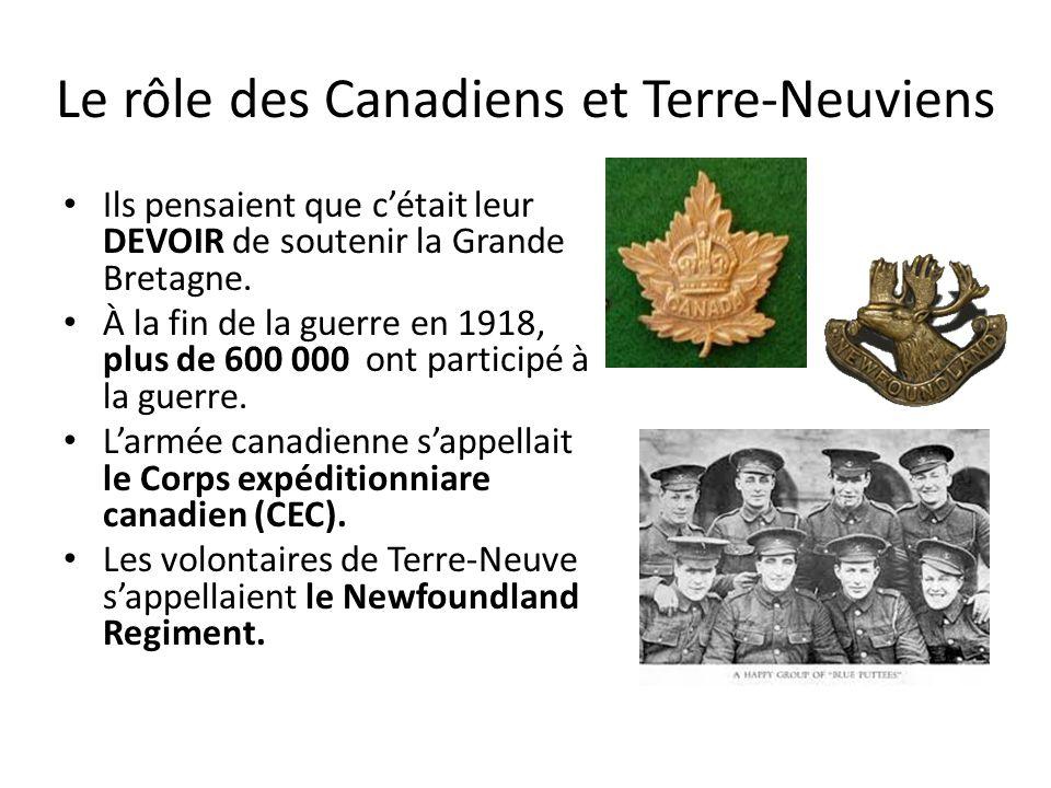 Le rôle des Canadiens et Terre-Neuviens Ils pensaient que cétait leur DEVOIR de soutenir la Grande Bretagne. À la fin de la guerre en 1918, plus de 60