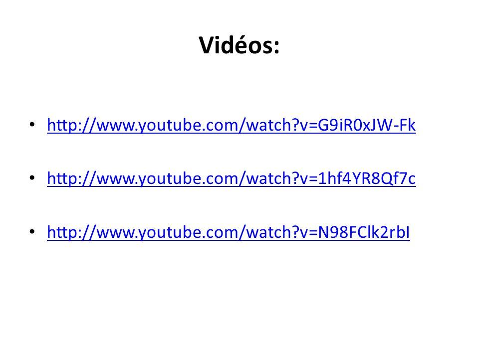 Vidéos: http://www.youtube.com/watch?v=G9iR0xJW-Fk http://www.youtube.com/watch?v=1hf4YR8Qf7c http://www.youtube.com/watch?v=N98FClk2rbI