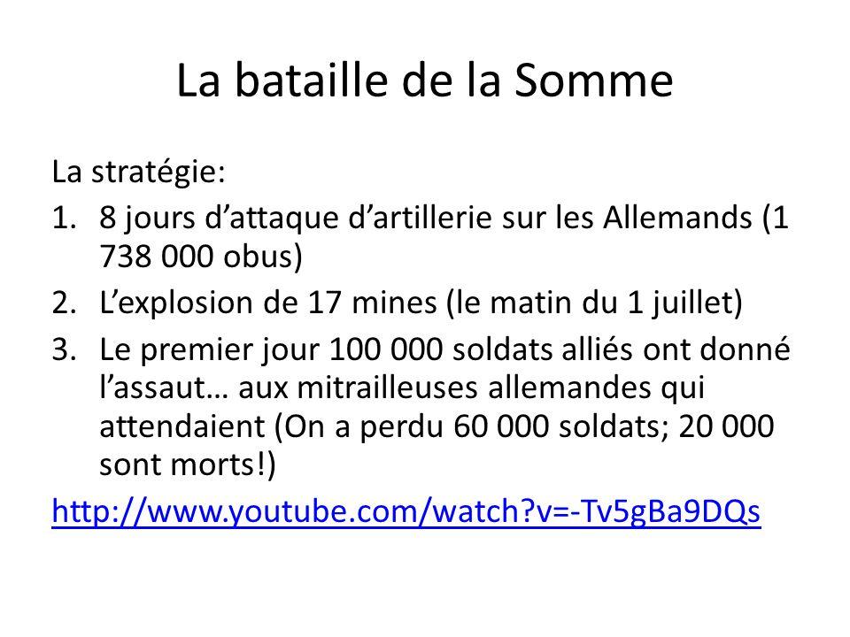 La bataille de la Somme La stratégie: 1.8 jours dattaque dartillerie sur les Allemands (1 738 000 obus) 2.Lexplosion de 17 mines (le matin du 1 juille