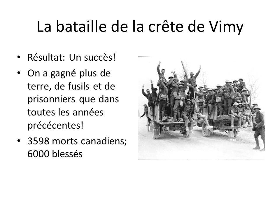 La bataille de la crête de Vimy Résultat: Un succès! On a gagné plus de terre, de fusils et de prisonniers que dans toutes les années précécentes! 359