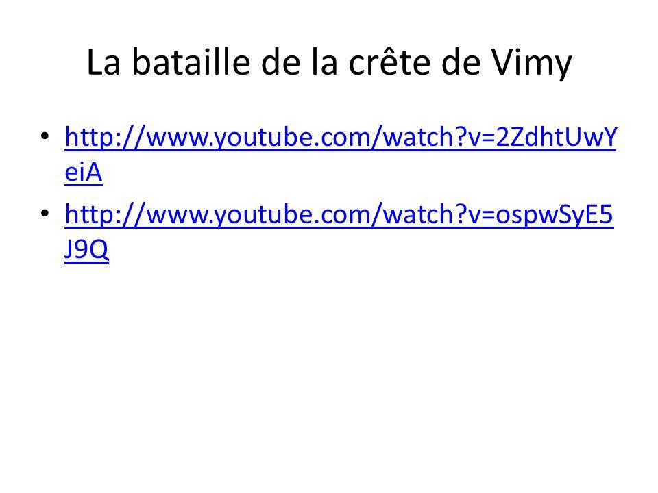 La bataille de la crête de Vimy http://www.youtube.com/watch?v=2ZdhtUwY eiA http://www.youtube.com/watch?v=2ZdhtUwY eiA http://www.youtube.com/watch?v=ospwSyE5 J9Q http://www.youtube.com/watch?v=ospwSyE5 J9Q
