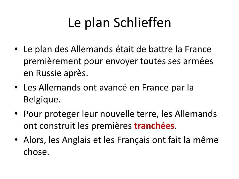 Le plan Schlieffen Le plan des Allemands était de battre la France premièrement pour envoyer toutes ses armées en Russie après. Les Allemands ont avan