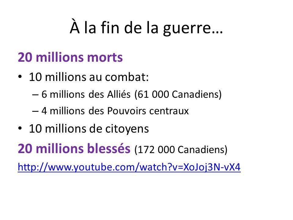 À la fin de la guerre… 20 millions morts 10 millions au combat: – 6 millions des Alliés (61 000 Canadiens) – 4 millions des Pouvoirs centraux 10 millions de citoyens 20 millions blessés (172 000 Canadiens) http://www.youtube.com/watch?v=XoJoj3N-vX4