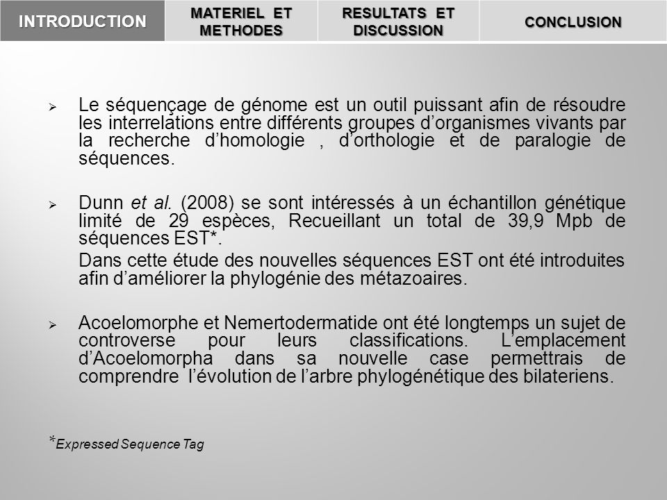 INTRODUCTION MATERIEL ET METHODES RESULTATS ET DISCUSSION CONCLUSION Obtention dEST La construction dune banque dADNc à partir dARNm, qui permet de reconstituer la structure probable dun génome.