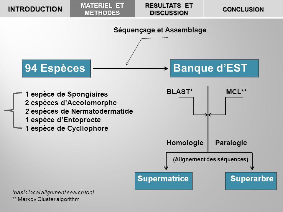 INTRODUCTION MATERIEL ET METHODES RESULTATS ET DISCUSSION CONCLUSION 94 Espèces Banque dEST Séquençage et Assemblage 1 espèce de Spongiaires 2 espèces