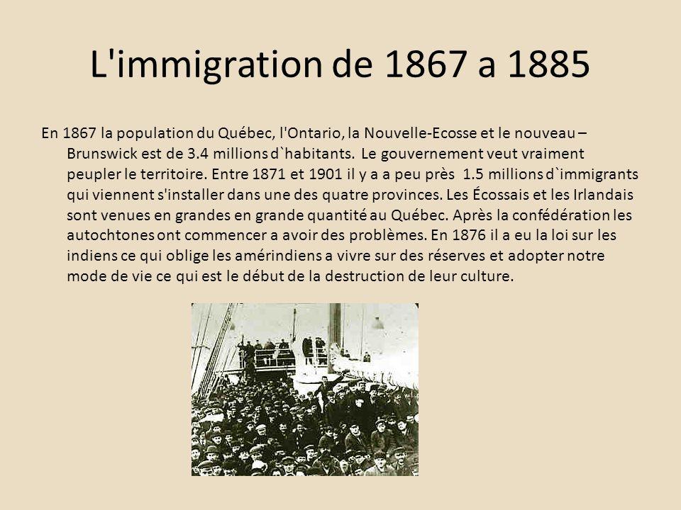 L'immigration de 1867 a 1885 En 1867 la population du Québec, l'Ontario, la Nouvelle-Ecosse et le nouveau – Brunswick est de 3.4 millions d`habitants.