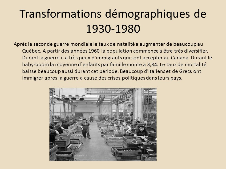 Transformations démographiques de 1930-1980 Après la seconde guerre mondiale le taux de natalité a augmenter de beaucoup au Québec. A partir des année