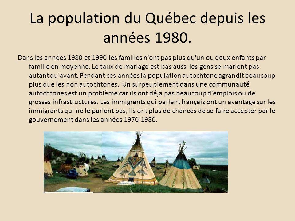 La population du Québec depuis les années 1980. Dans les années 1980 et 1990 les familles n'ont pas plus qu'un ou deux enfants par famille en moyenne.