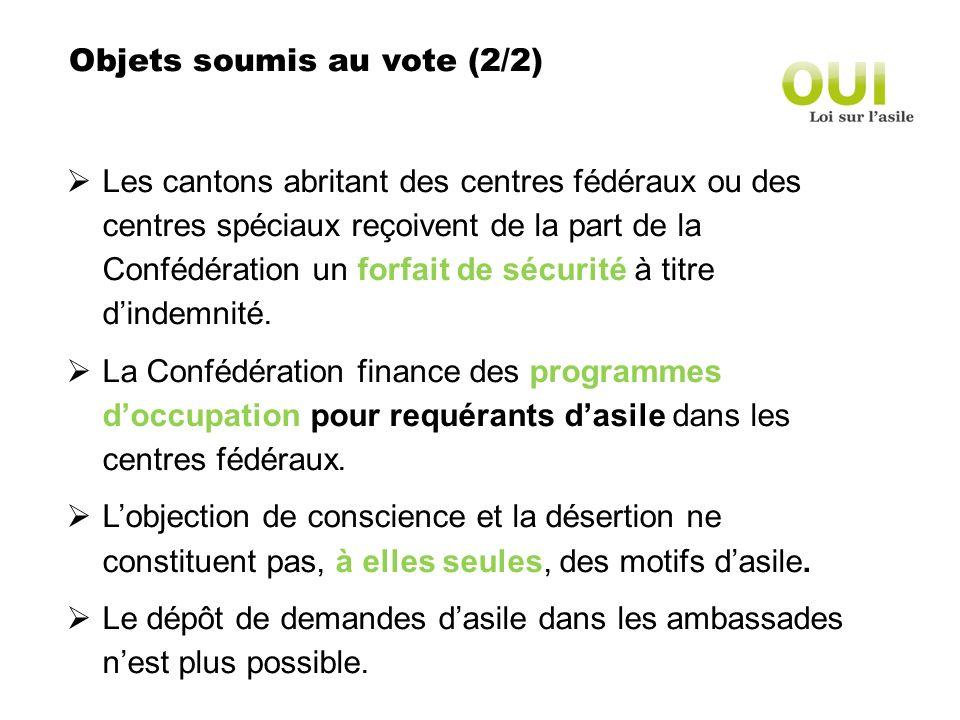 Objets soumis au vote (2/2) Les cantons abritant des centres fédéraux ou des centres spéciaux reçoivent de la part de la Confédération un forfait de sécurité à titre dindemnité.