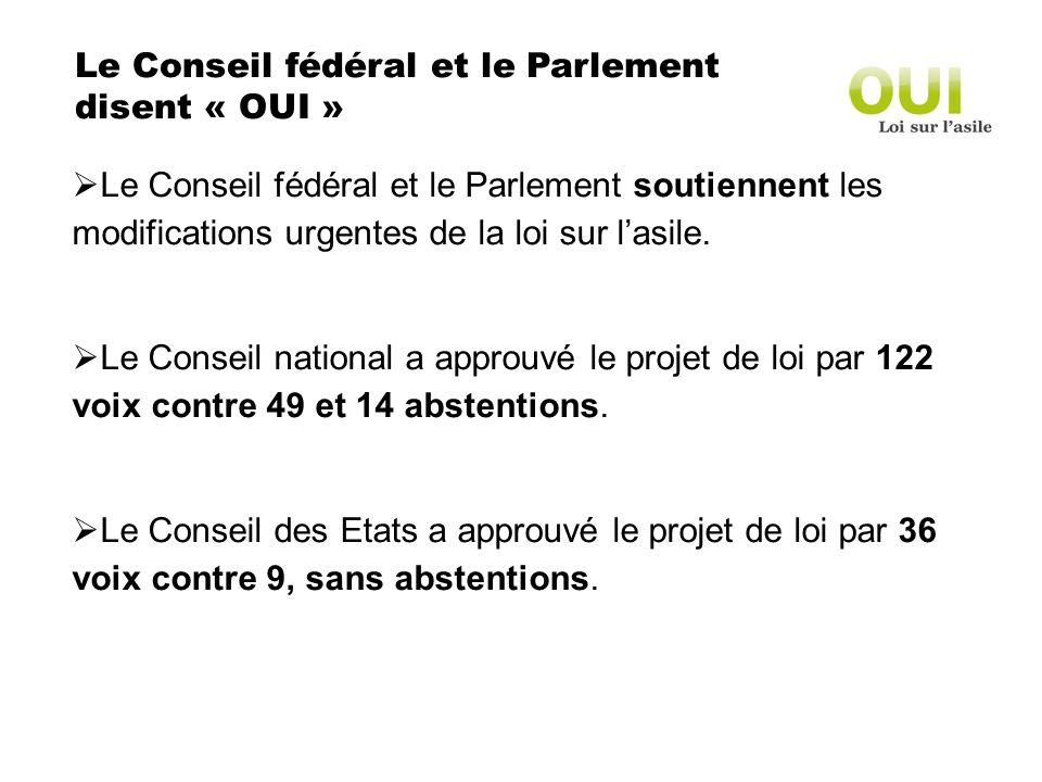 Le Conseil fédéral et le Parlement disent « OUI » Le Conseil fédéral et le Parlement soutiennent les modifications urgentes de la loi sur lasile.