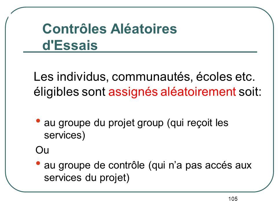 104 Groupe de contrôle et Groupe de comparaison Groupe de contrôle = assignation aléatoire de la population au groupe du projet et au groupe hors-proj