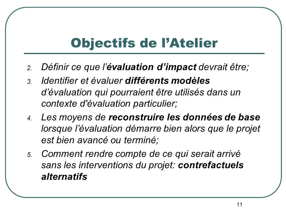 Objectifs de lAtelier 1. Les bases de lapproche Evaluation en SituationRéelle (ESR) pour répondre aux questions et contraintes de lévaluateur telles q