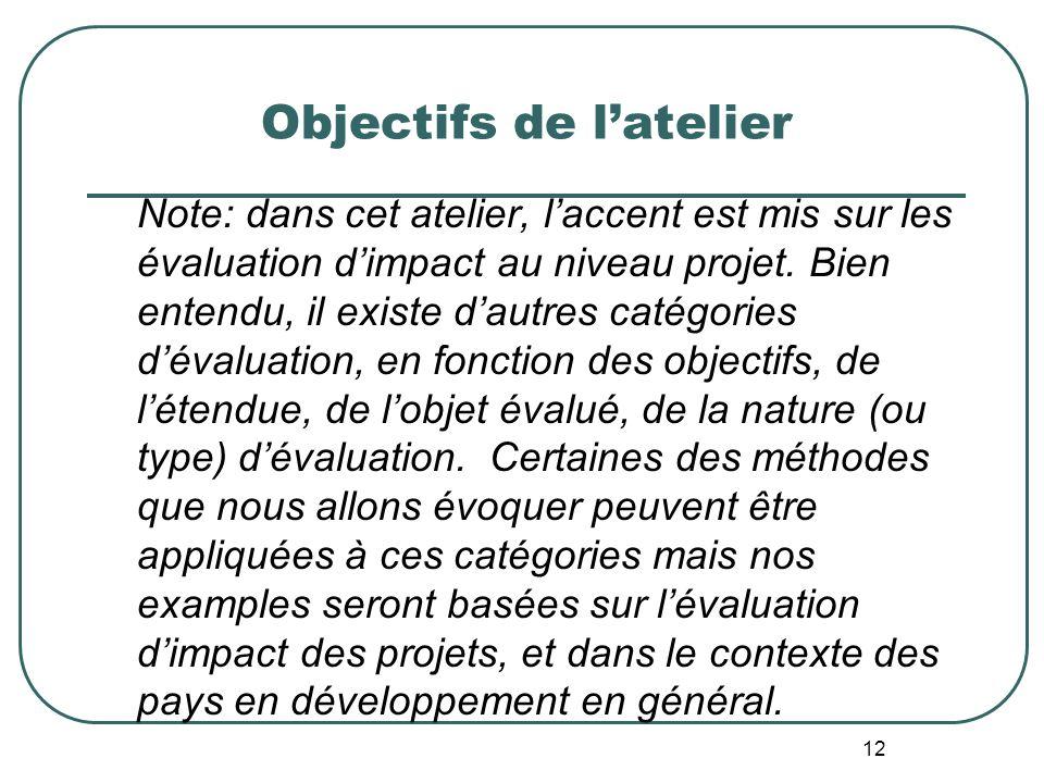 Objectifs de lAtelier 2. Définir ce que lévaluation dimpact devrait être; 3. Identifier et évaluer différents modèles dévaluation qui pourraient être
