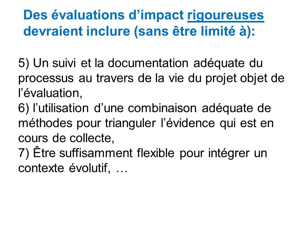 1)Une large consultation et limplication dune diversité de parties prenantes, 2)Larticulation dun modéle logique compréhensif, qui prévoit les influen