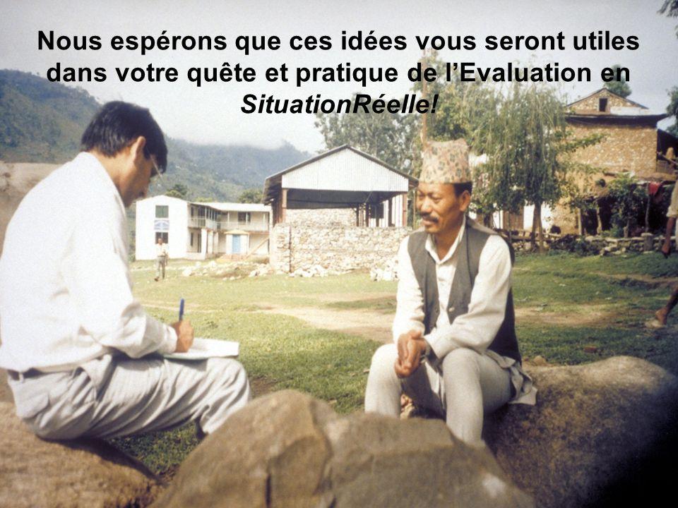 143 Principaux messages de lAtelier 1. Les Evaluateurs doivent être préparés pour les défis de lévaluation en SituationRéelle. 2. Il existe une expéri