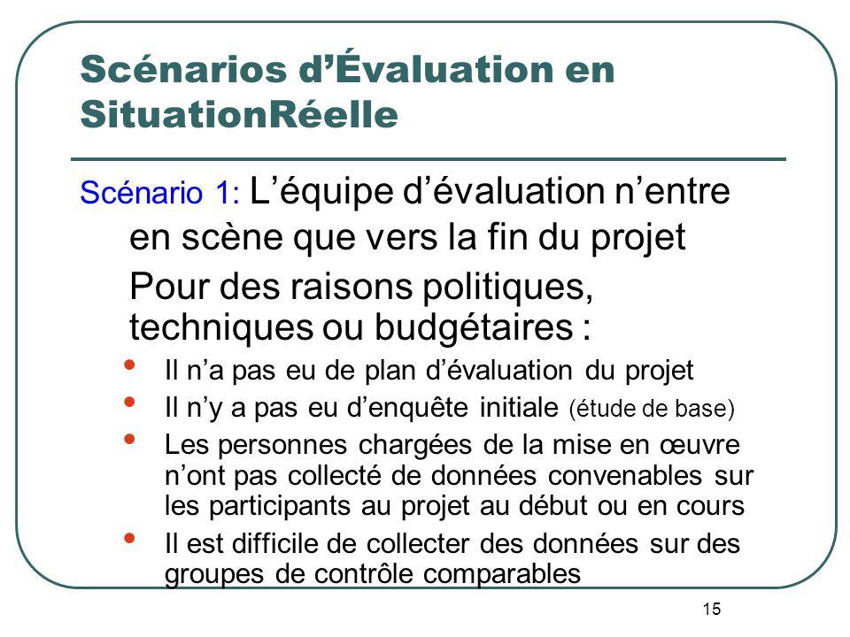 14 Vue densemble de lApproche ESR Evaluation en SituationRéelle Concevoir des évaluations en tenant compte des contraintes associées au budget, aux dé