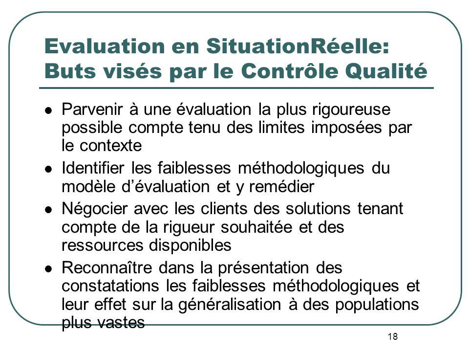17 Appel à la Réalité – Défis de la SituationRéelle en Evaluation Trop souvent, lévaluation nentre pas en ligne de compte à la conception du projet –