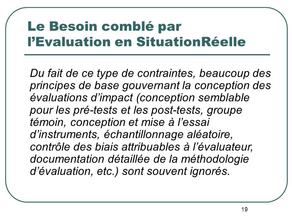 18 Evaluation en SituationRéelle: Buts visés par le Contrôle Qualité Parvenir à une évaluation la plus rigoureuse possible compte tenu des limites imp