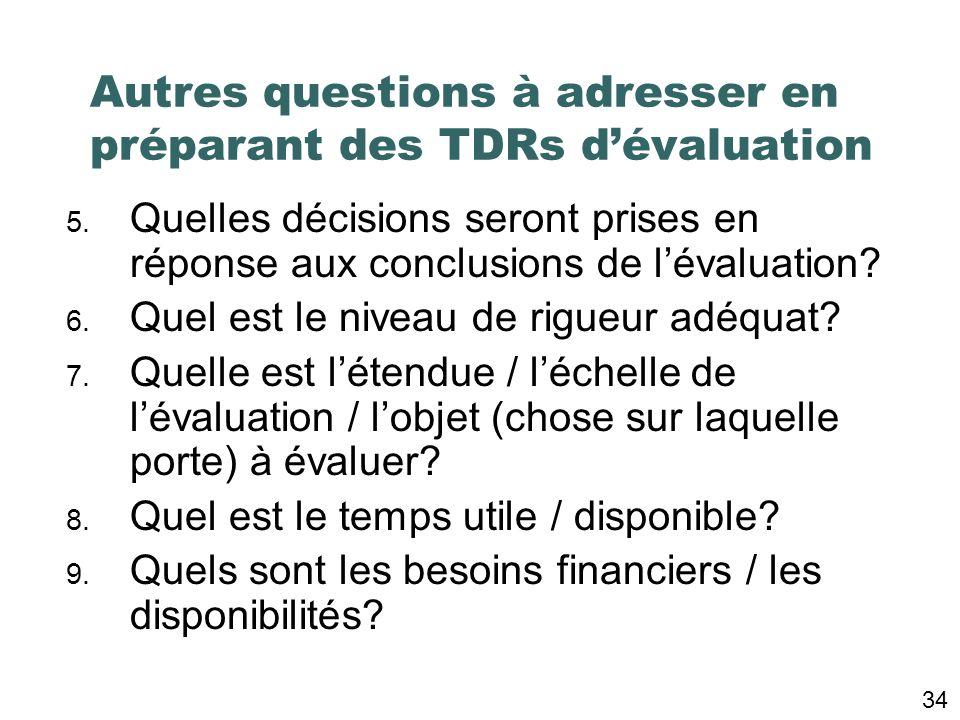 1. Qui a demandé lévaluation? (Qui sont les acteurs clefs)? 2. Quelles sont les questions clefs? 3. Sagira-t-il dune évaluation dévelopmentale, format
