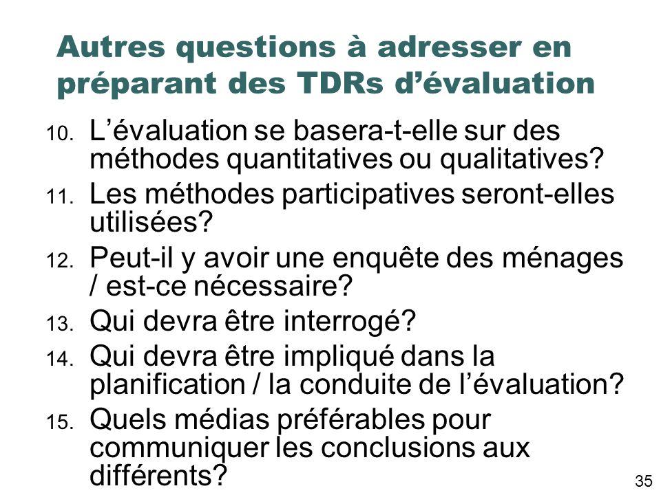 5. Quelles décisions seront prises en réponse aux conclusions de lévaluation? 6. Quel est le niveau de rigueur adéquat? 7. Quelle est létendue / léche
