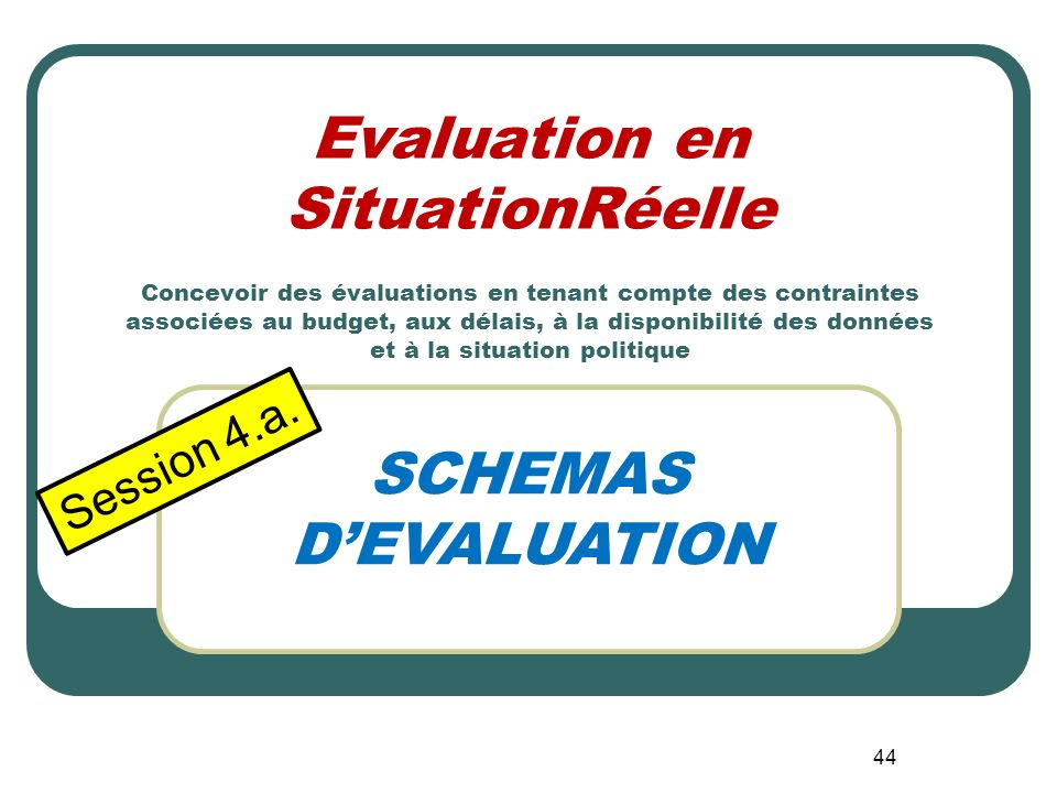 43 1.Présentez-vous 2.Quelles contraintes analogues avez-vous affronté dans votre pratique dévaluation? 3.Comment avez-vous réagi?