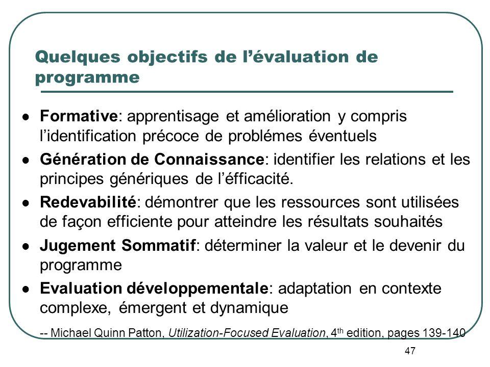 46 OECD-DAC (2002: 24) définit limpact comme Effets à long terme, positifs et négatifs, primaires et secondaires, induits par une action de développem